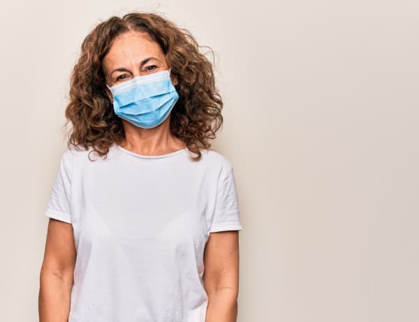 Woman with mask, COVID-19 clinical research